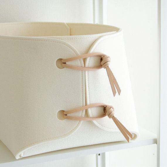 cestini di immagazzinaggio con pelle naturale di SKANDINAVIOUS