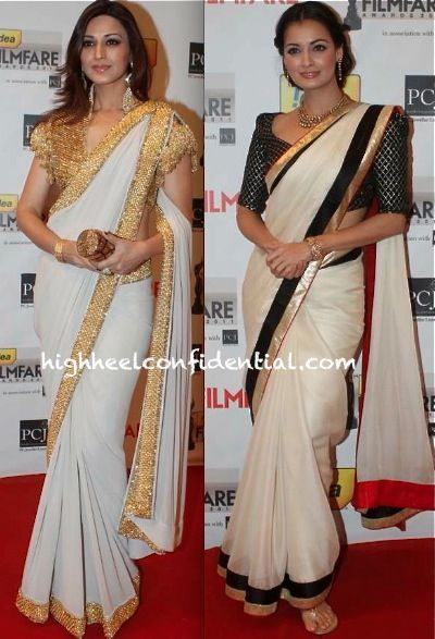 Love the sari on the right