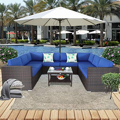 leaptime patio furniture sofa 9pcs outdoor brown rattan sofa garden rh pinterest com