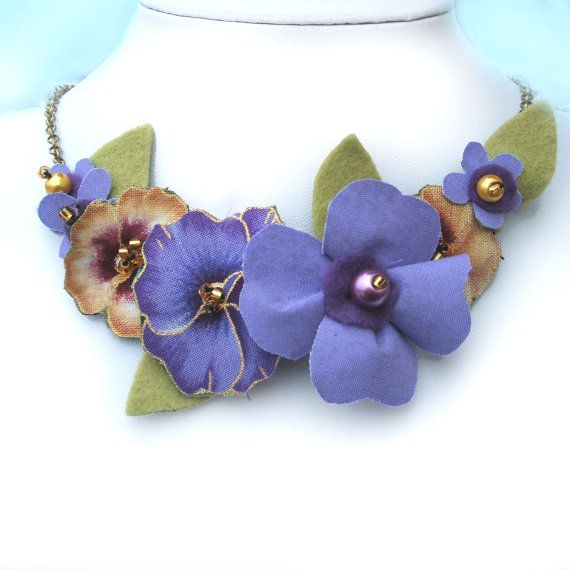 Lilac Necklace Fabric Flower Pansy Necklace by CraftyJoDesigns