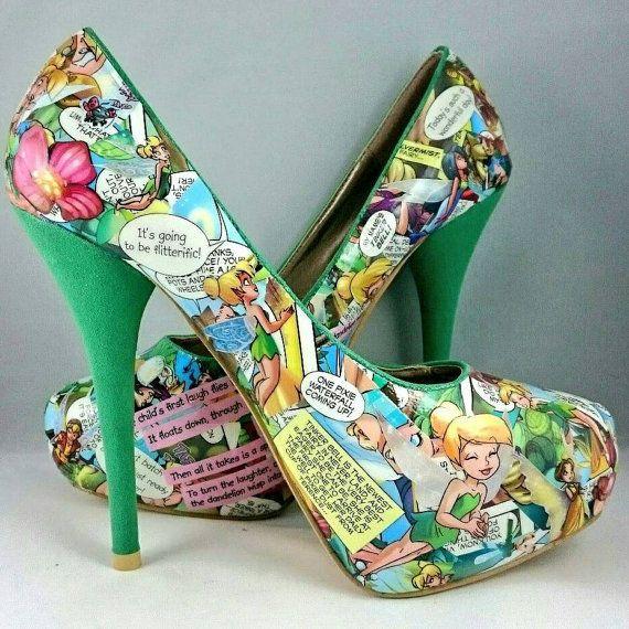 Disney Tinkerbell Heels Disney Princess Going by PegstarDesigns