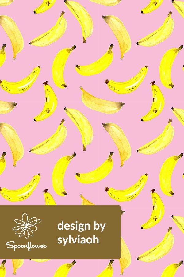 Colorful Fabrics Digitally Printed By Spoonflower Banana Watercolour On Pink Medium Fruit Wallpaper Banana Painting Painting Banana
