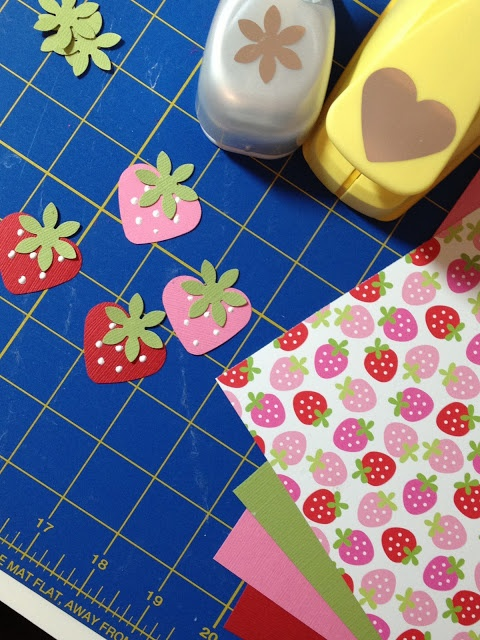 PaperTurtle: Strawberry with a heart and flower punch