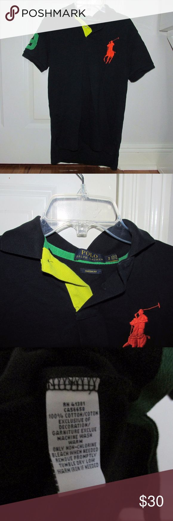 Boys Custom Fit Ralph Lauren Polo Collared Shirt **NOT furry friend free home Gently used, practically new size small petite polo shirt (I believe my brother wore this around 11 or 12 for more of a size reference). In nice black color with orange logo on the front, green number on the right sleeve, and yellow collar flap on the right also. No stains or flaws. Polo by Ralph Lauren Shirts & Tops Polos