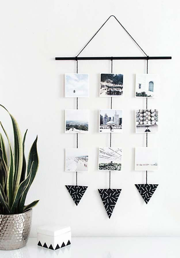 Cool DIY Photo Projects and Craft Ideas for Photos – Photo Hanging Wall – Easy Ideas for Wall Art, Collage and DIY Gifts for Friends. Wood, Cardboard,…