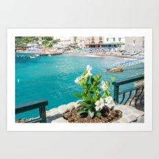 flowres and sea Art Print