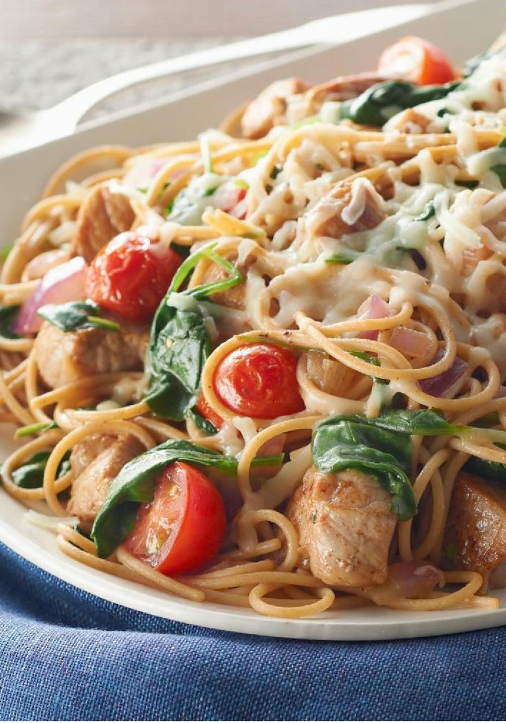 """Smart Pork-Pasta Toss – """"Better for you"""" can be both easy and delicious! Bonus: This recipe is ready for the dinner table in less than 30 minutes."""