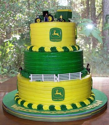 three-tiered John Deere cake