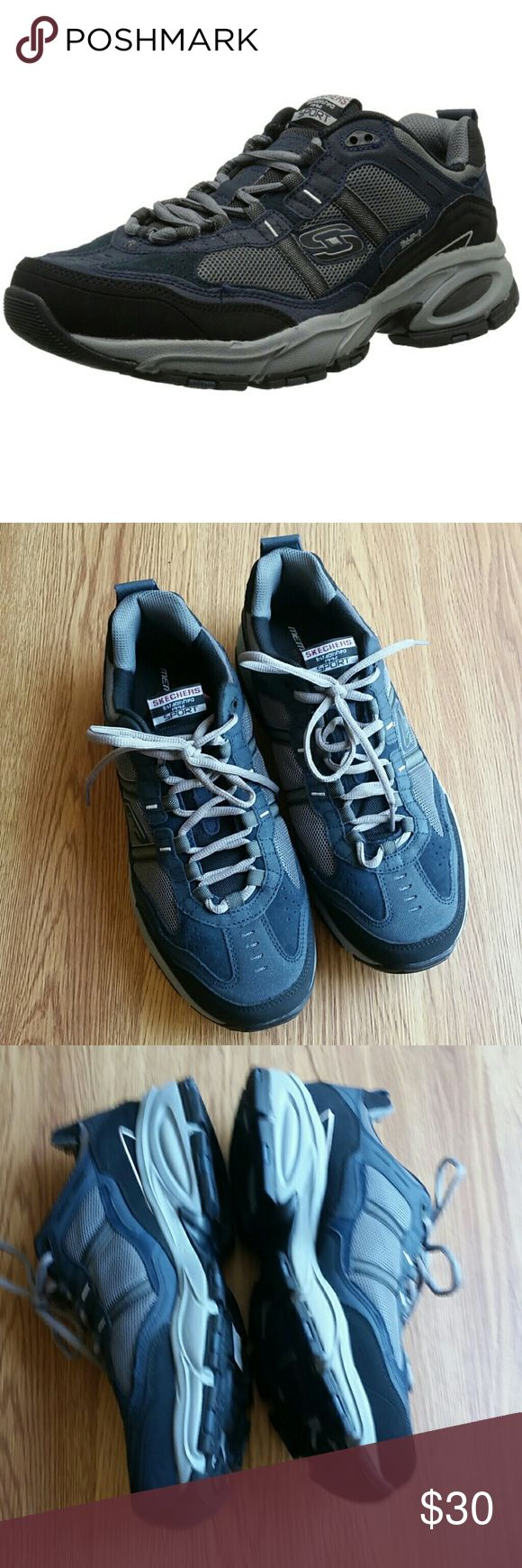 SKETCHER'S memory foam Cross Trainer BRAND NEW w/o box and never worn. Men's memory foam 51241 memory foam cross trainers. Make offer.... They didn't fit hubby and hope they go to good home! Amazing shoes for work, gym etc.   Color: Navy blue, gray, black Skechers Shoes Athletic Shoes