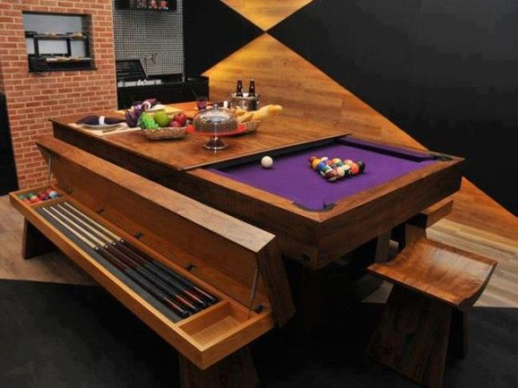Cool dining room/pool table combo.