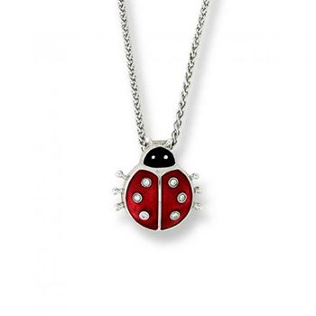 Nicole Barr Silver and Diamond Ladybug Enamel Pendant