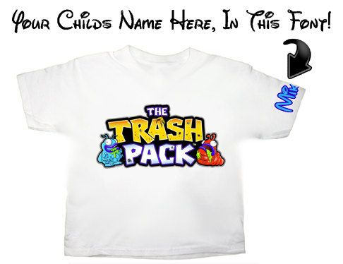 The Trash Pack Trashies T shirt with custom name on sleeve. $16.99, via Etsy.