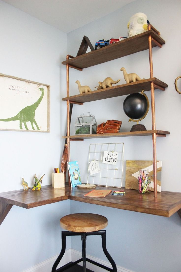 A floating desk with pipe shelves tucked into the corner is the perfect spot for homework, coloring, and displaying prized collections. Click to watch this episode of The Weekender & get the details of this build.