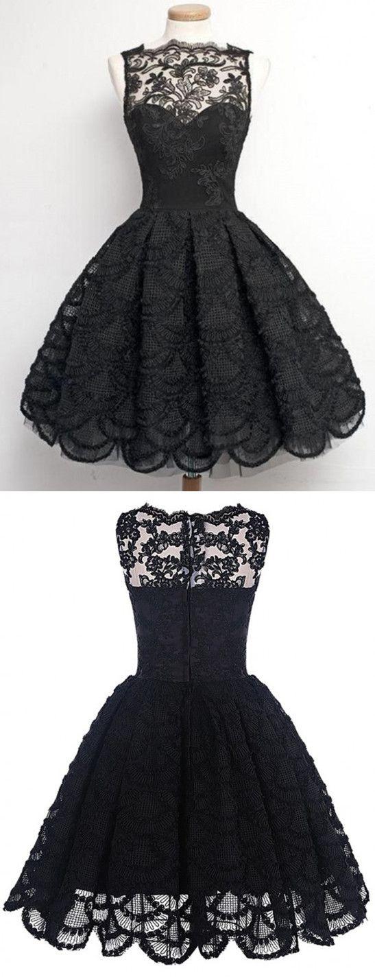 Black Prom Dresses,Short Prom Dress,Lace Prom Dresses,Short Homecoming Dresses,Lace Homecoming Gowns, 2017 Prom Dresses,A-Line Prom Dress,Sleeveless Prom Dresses,Knee Length Prom Dresses