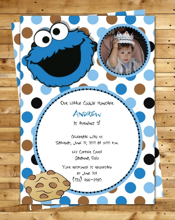 103 best cookie monster images on pinterest | birthday party ideas, Birthday invitations