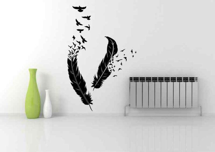 Dettagli su birds piuma che volano adesivo parete arte for Pochoir deco murale