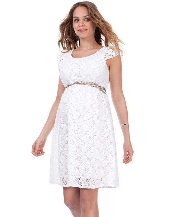 Feel divine in our beautiful white lace maternity dress. Made in soft stretch cotton lace, this white maternity dress is ultra-feminine, exuding a soft vintage charm. Cute capped sleeves and a flattering scooped neckline enhance the effect, while the gently elasticized empire waist highlights your slimmest point, creating a flattering silhouette for pregnancy. The easy-to-wear a-line skirt allows plenty of room for your growing curves, providing a perfect fit before, during and after your…