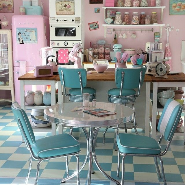7 Recommended Kitchen Decorating Themes For Perfecting: Perfect Retro Pastel Kitchen With Pink Smeg And Kitchen