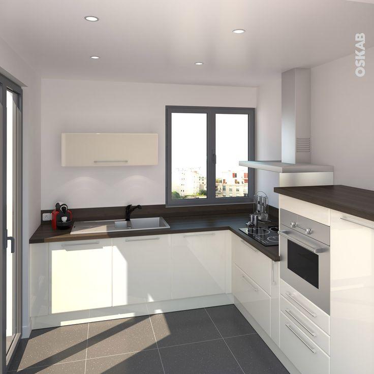 Decoration Chambre Pour Bebe Garcon : Cuisine chic et masculine ouverte sur séjour, meuble de cuisine noir