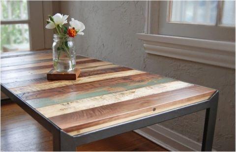 Increible mesa con madera reciclada