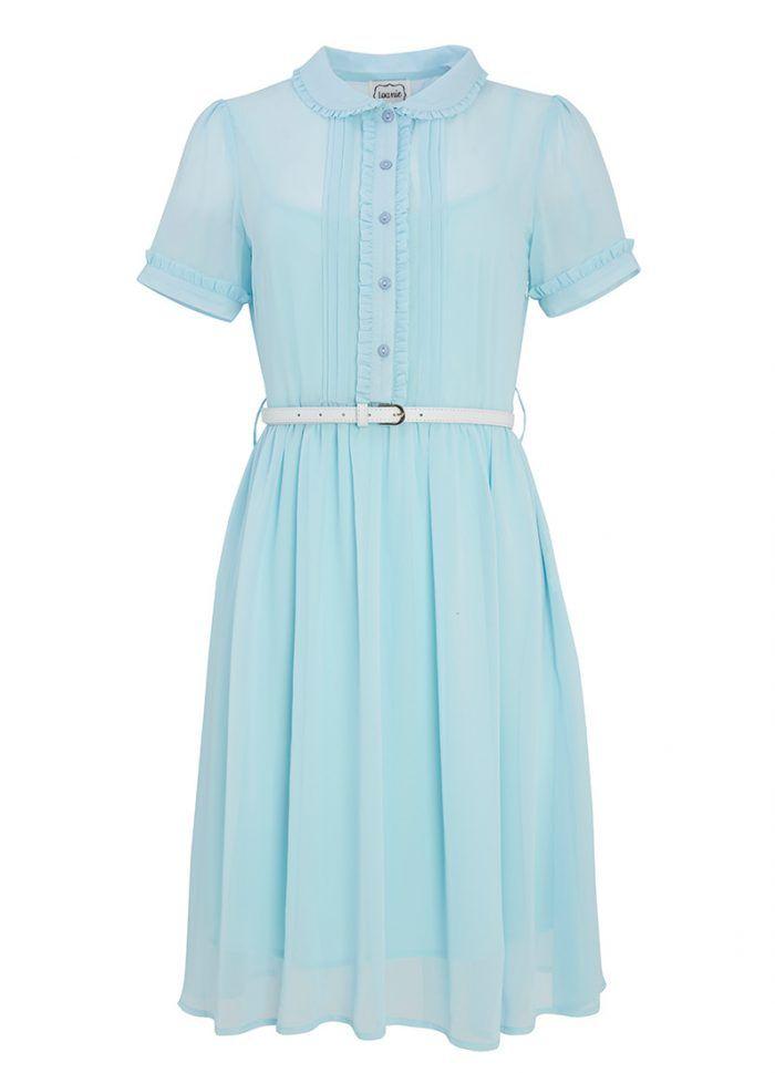 Bonnie Blue Frill Dress | Collar Shirt Dress | Joanie Clothing