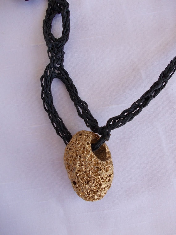 Necklace with gold stone by TzoFeltGood on Etsy, €75.00