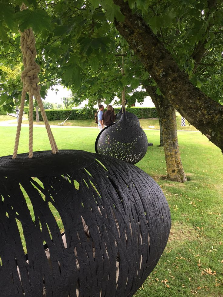 Maffam Manu Nest hanging garden chairs at Goodwood Racecourse, W. Sussex, UK.