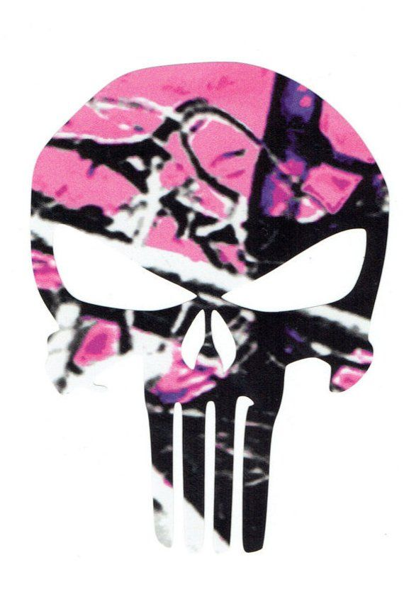 """Punisher Skull Breast Cancer Pink Camo Sticker car truck laptop Decal 5/""""x4/"""""""