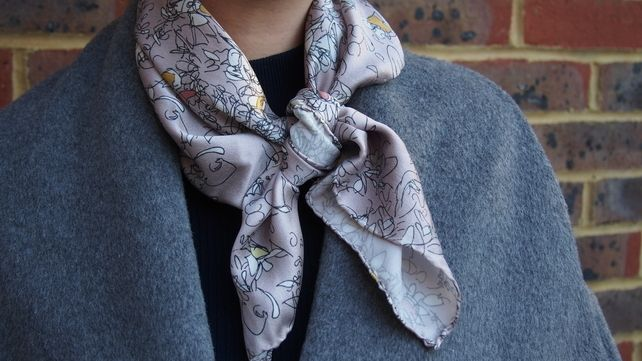 Blind Floral Digitally Printed Medium Silk Square Scarf, Hand Finished £85.00
