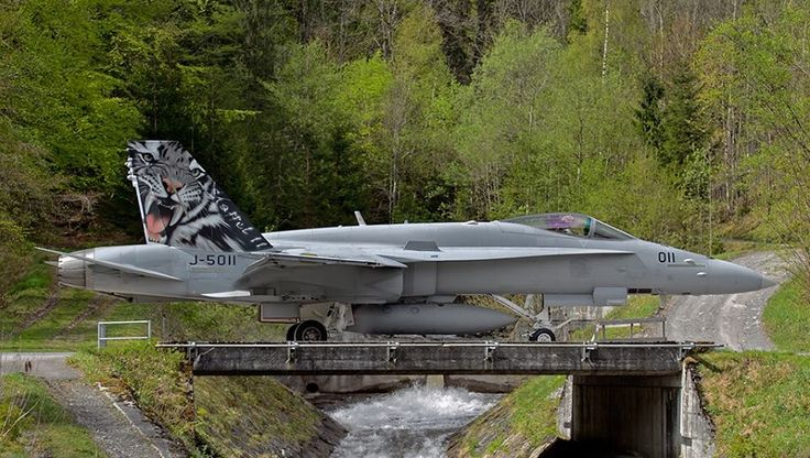 Swiss Air Force Fighter Squadron 11 F/A-18C Hornet Taxis to Underground Cavern at Meiringen Air Base via