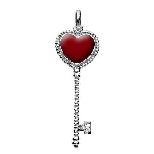 Bling Jewelry Sterling Silver Cable Accent Red Heart Key Pendant
