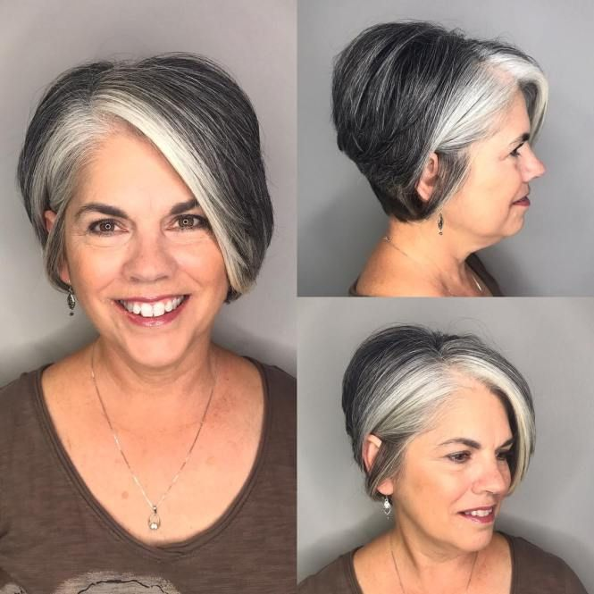 Side-Parted Pixie Bob with Gray Balayage