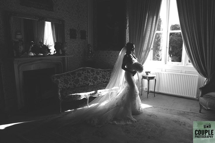 Hollywood glamour for the bride in the gold room. Weddings at Cabra Castle photographed by Couple Photography.