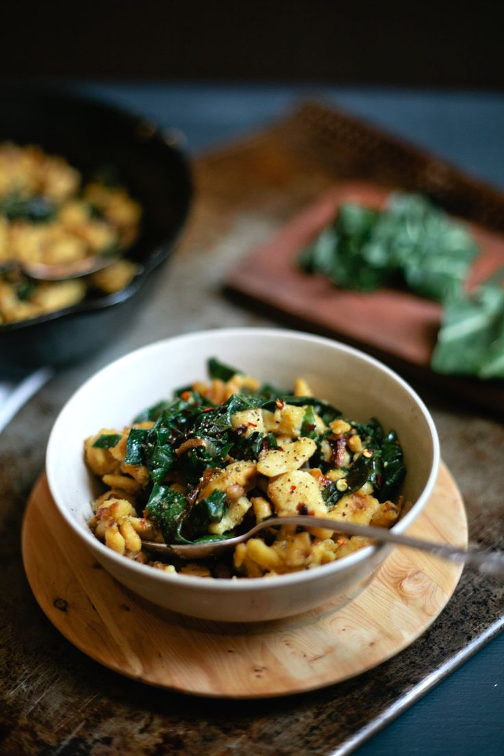 Chickpea Spätzle with Shallots & Collard Greens | My Name Is Yeh