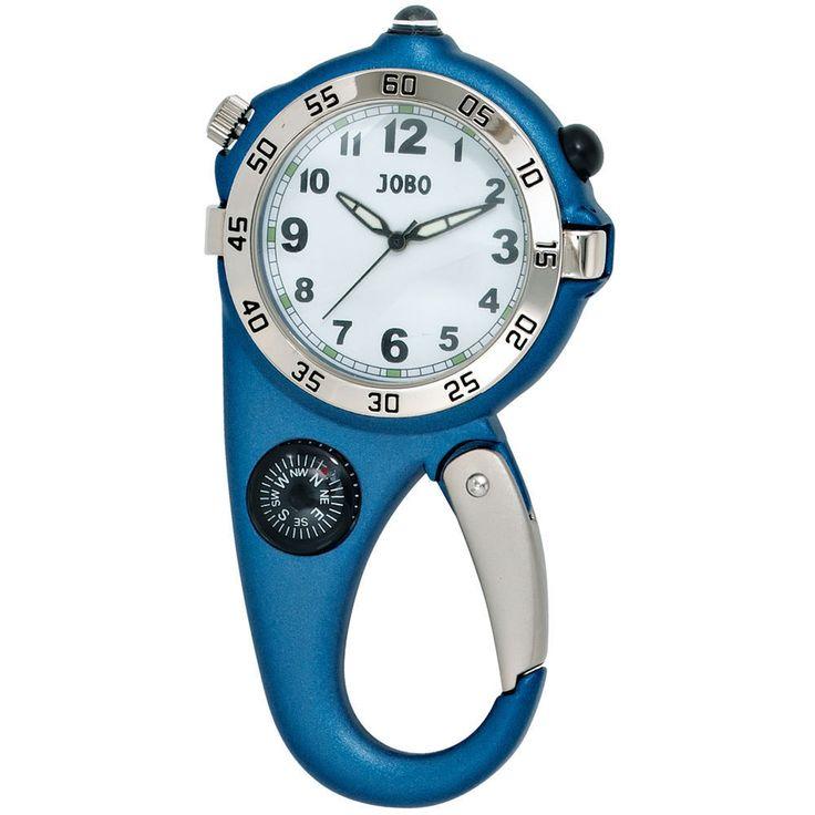 JOBO Gürteluhr Taschenuhr Karabineruhr Quarz Analog Kompass Chromgehäuse blau