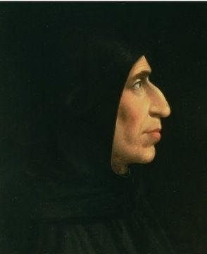 Dominican monk Girolamo Savonarola (1452-98) of the San Marcos monastery in Florence, Italy. Swept along by the spirit of the Italian Renaissance, Savonarola spoke out against the corruption in both Church and State.  In 1497 the pope excommunicated him. The following year, he was arrested, tortured, and hanged. His body was burned and the ashes thrown into the river Arno.