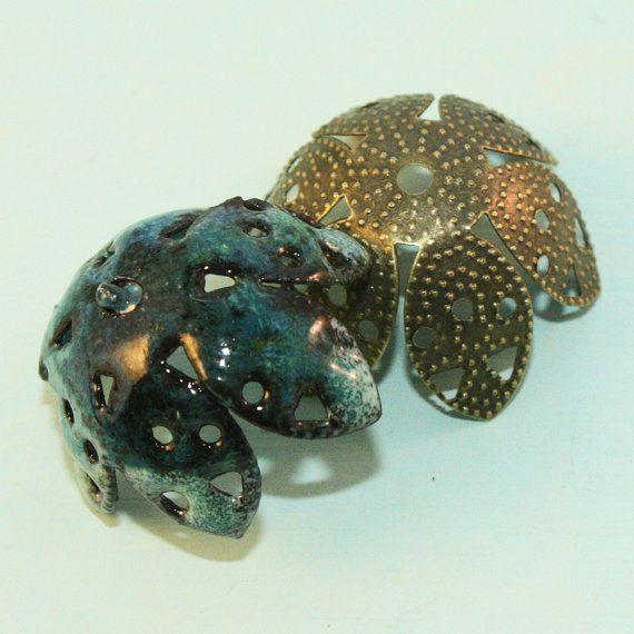 Bronze Filigree Iron Bead Caps 12pcs B17 by Studio139Designs, $1.49