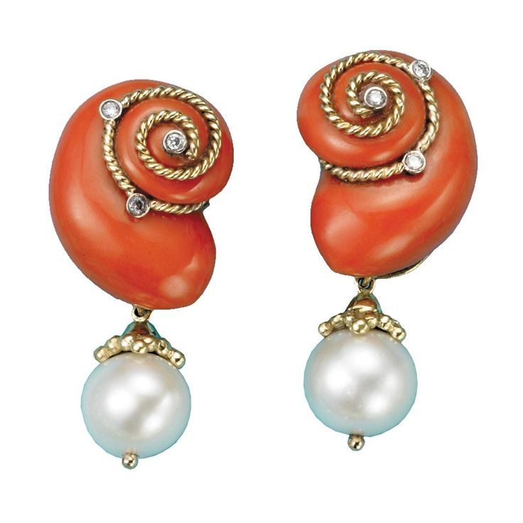 coral snail gold pearl earrings