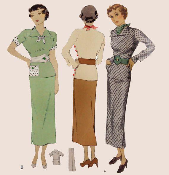 stile anni trenta 4pc lato pulsante camicetta cintura sciarpa e la gonna sottile impostato su misura nel vostro formato da un modello d'epoca