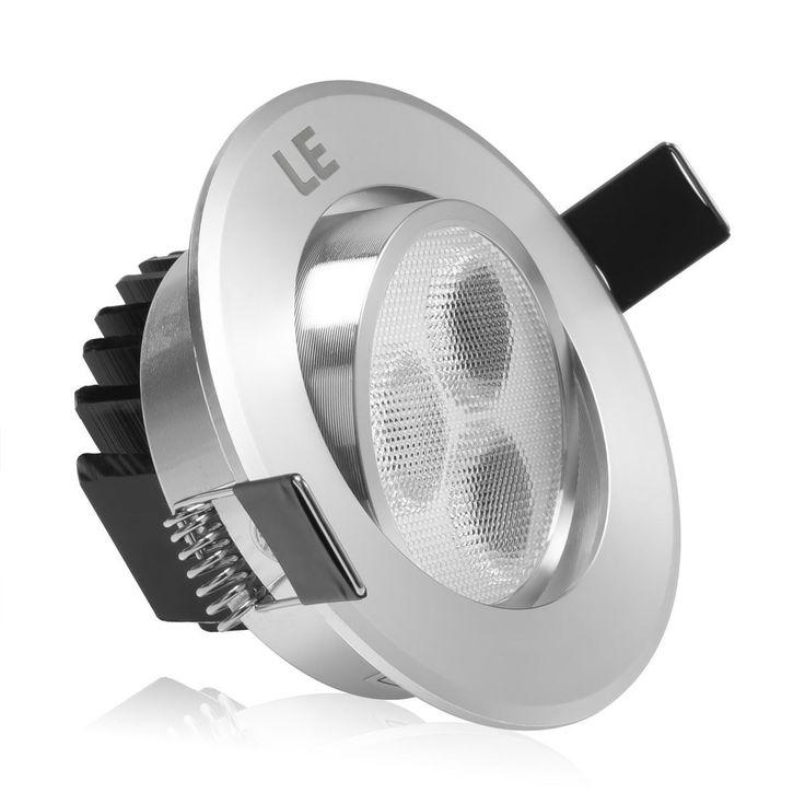 LE 3W LED luces empotradas de techo de Plata Brillante, Equivalente bombilla de halógeno 30W, blanco cálido, luz empotrada, Downlight, Paquete de 4 Unidades: Amazon.es: Iluminación