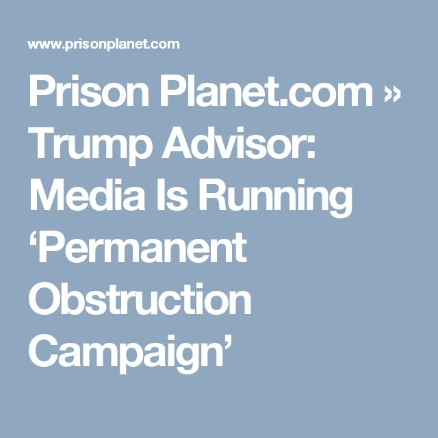 Prison Planet.com » Trump Advisor: Media Is Running 'Permanent Obstruction Campaign'