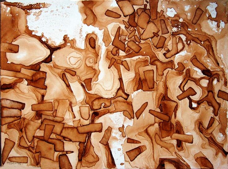 """- otra línea de trabajo VI-  serie """"mandalas de ocasión""""  título: """" trencadís III """"  pigments on canvas  73 x 54 cm"""