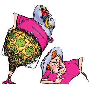 Old lady with large posterior and fruited hat - Set of 2. This is a Front & Back set from Art Impressions, Inc (Ai) called Fanny Front & Back #T1716 Put a word balloon with Hello in it would be great.