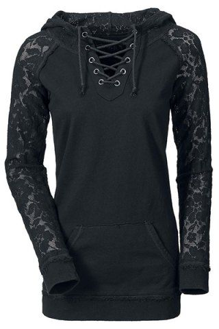 Stylish Lace Splicing Lace-Up Long Sleeve Hoodie For Women Sweatshirts & Hoodies | RoseGal.com Mobile