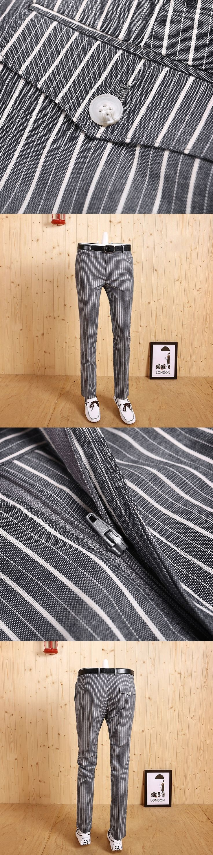 high quality 2017 men's new autumn spring slim light blue stripe fashion business wedding groom suits long pants casual pant