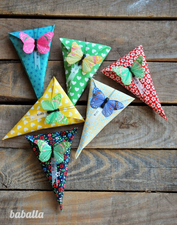 marshmallow cones with orgami butterfly | Baballa in stylelovely.com