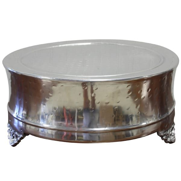 Edita - Silver Cake Stand (Medium) || Hammered silver footed cake stand. Larger one available as. Dimensions: 14 x 14 x 6.  Quantity: 1.