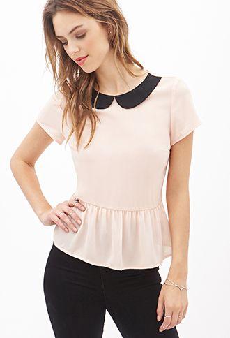 "Peter Pan Collar Peplum Top | I'm thinking of adding one like this to my ""new wardrobe"""