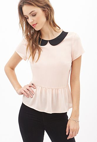 "Peter Pan Collar Peplum Top | I'm thinking of adding one like this to my ""new wardrobe"""