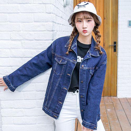 Plus size 2016 Spring Autumn Ladies Denim Jackets Retro loose washed denim jacket female Vintage Long jean jacket Women's Jeans